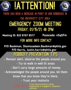 Philadelphia Police is hosting an Emergency Zoom Meeting, to discuss the increase in violent crimes in your area.