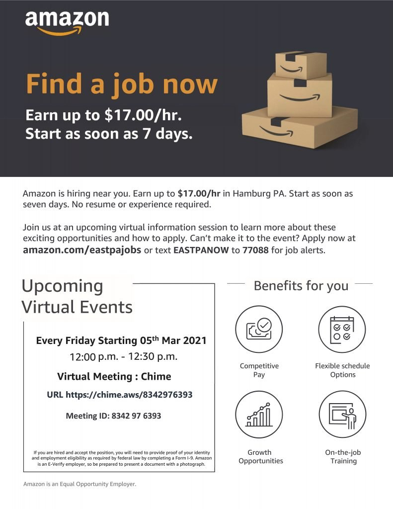 Amazon is holding Virtual Hiring events every Friday starting March 5th