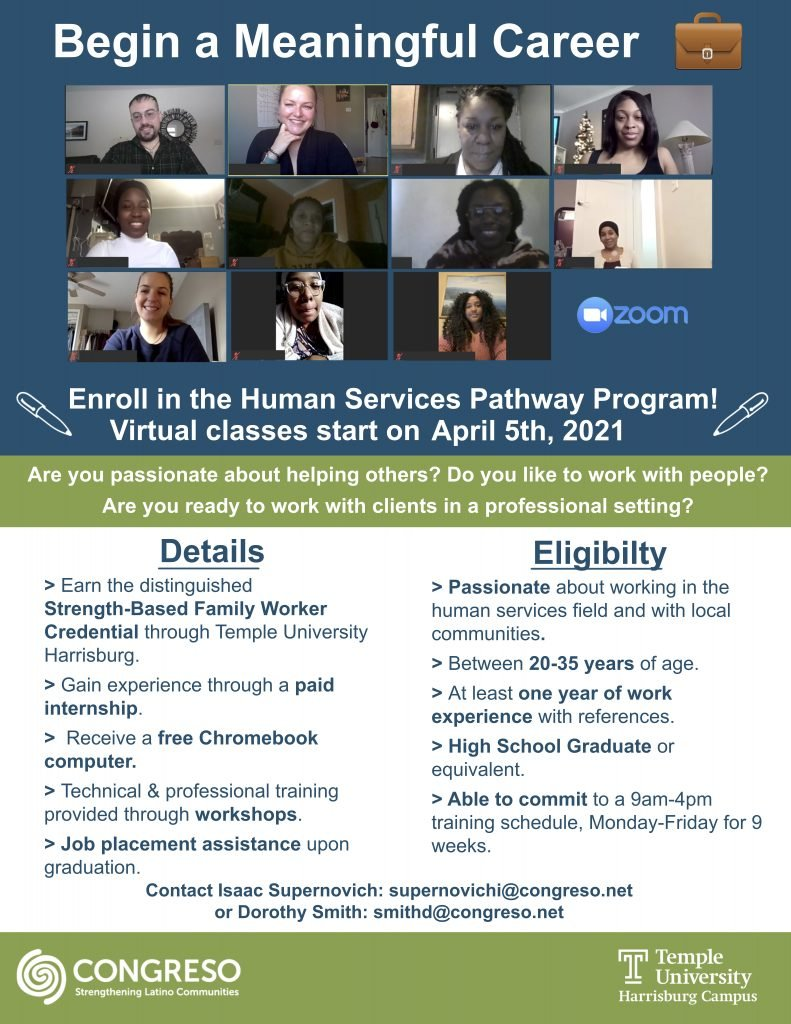 Recruitment details for the Human Services Program Pathway