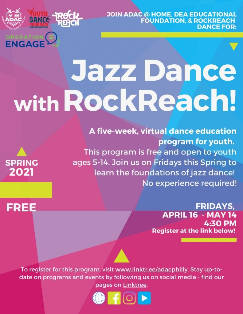 A flyer promoting youth Jazz Dance classes every friday from April 16th to May 14th