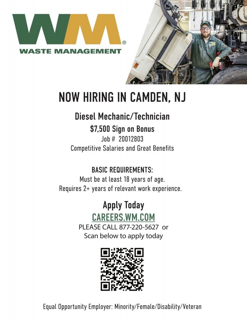 Waste Management hiring a Diesel Mechanic or Technician in Camden, NJ