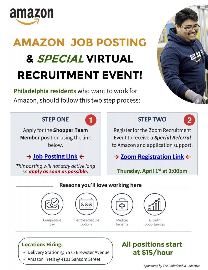 a flyer with information and links for Amazon's virtual hiring event on Thursday April 1st 2021